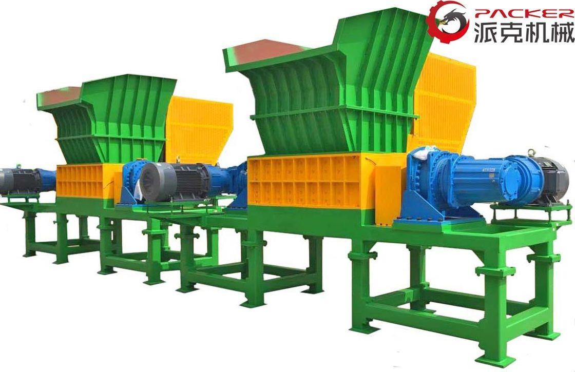 Low Noise Double Shaft Shredder Overload Automatic Return Metal Containers